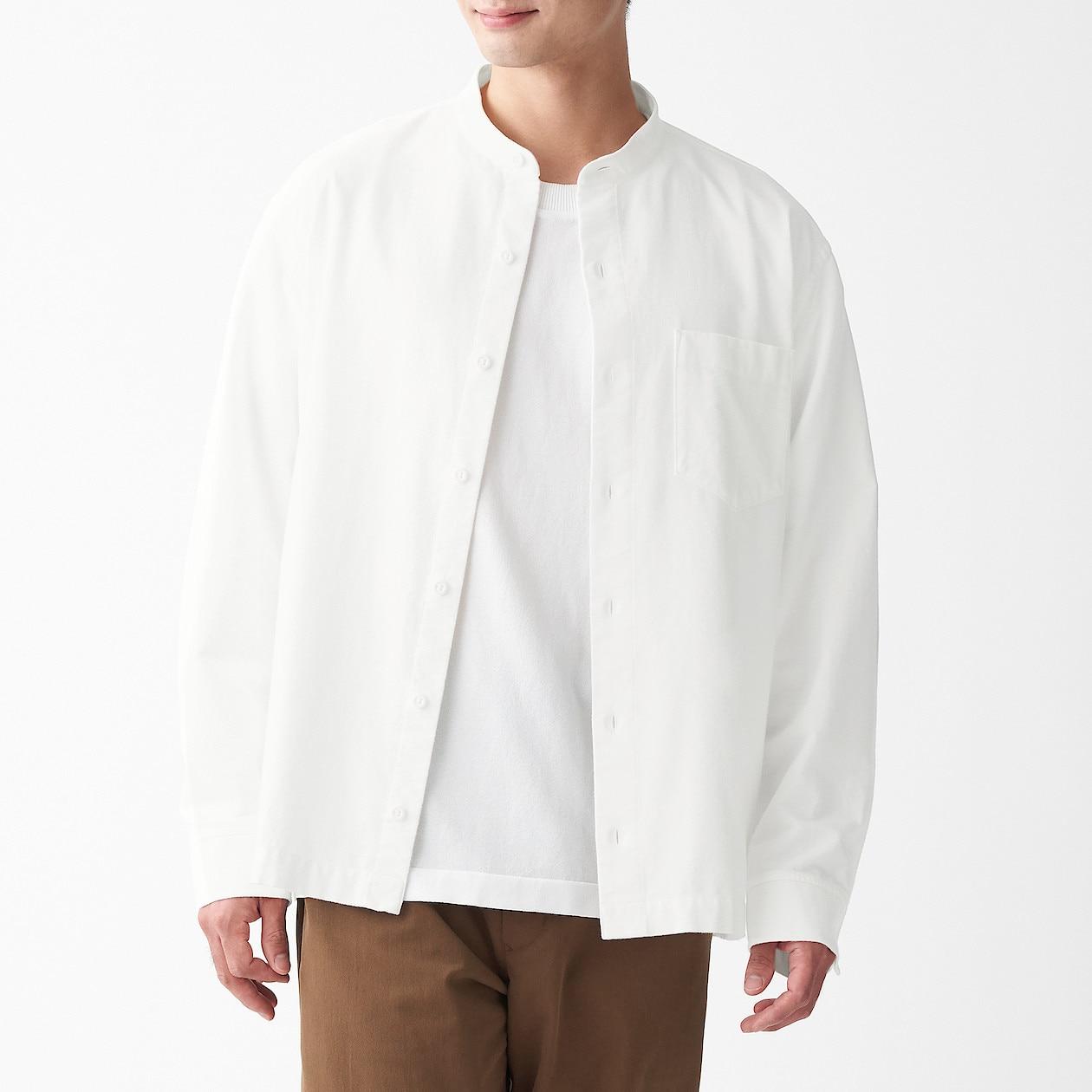 男新疆棉法蘭絨立領襯衫 柔白XS | 無印良品
