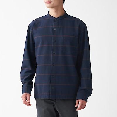 男有機棉法蘭絨立領襯衫 暗藍格紋XS | 無印良品