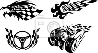 Bild Racing Symbole Drache Flamme Ruder Räder Und Schädel
