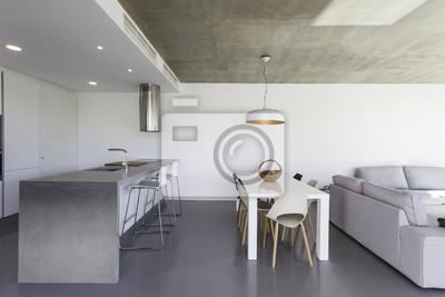cuisine moderne avec carrelage gris et mur blanc images myloview