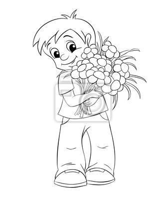 cute petit garcon avec bouquet noir blanc illustration coloriage images myloview