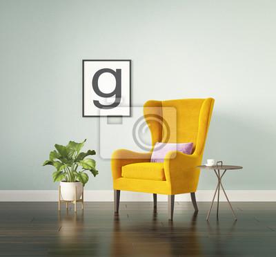 fauteuil a oreilles en velours jaune images myloview