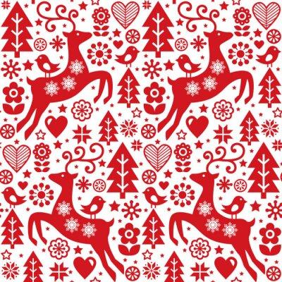 noel folk rouge modele vectorielle continue art populaire scandinave images myloview