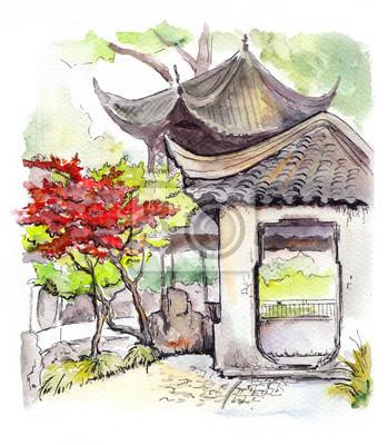 pagode du temple chinois et arbre rouge en chine images myloview