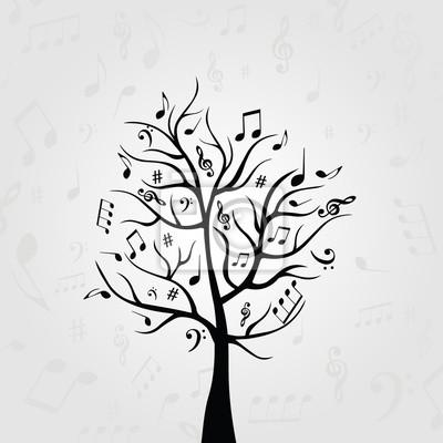 papiers peints arbre de musique noir et blanc avec des notes de musique symboles