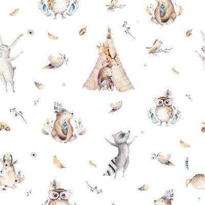 papiers peints bebe animaux pepiniere isole modele sans couture avec bannieres