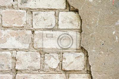 papiers peints le vieux mur de briques blanches avec un platre casse et fissure