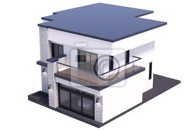 papiers peints rendu 3d de style moderne de maison sur fond blanc