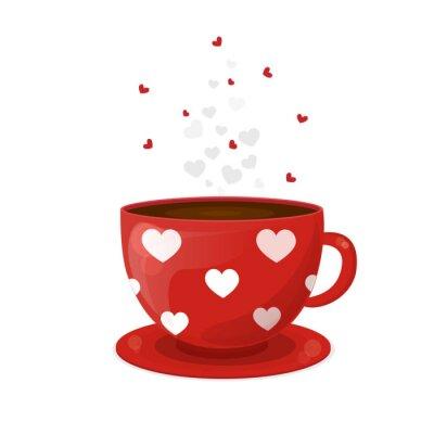 sticker rouge tasse cafe blanc cœurs vector illustration pour la