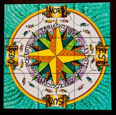 Carta Da Parati Rosa Dei Venti Ceramica Vietri Sul Mare