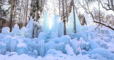 日本岐阜.高山》秋神溫泉.氷点下の森。冬季限定祭典,冰藍巨浪宛若冰雪奇緣夢幻冰瀑