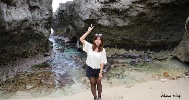 【屏東小琉球景點】龍蝦洞。小琉球秘境壯觀珊瑚礁海岸地形,要爬吊繩才能合照。(寵物旅遊)