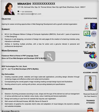 resume format doc for fresher mca samples with free download 100
