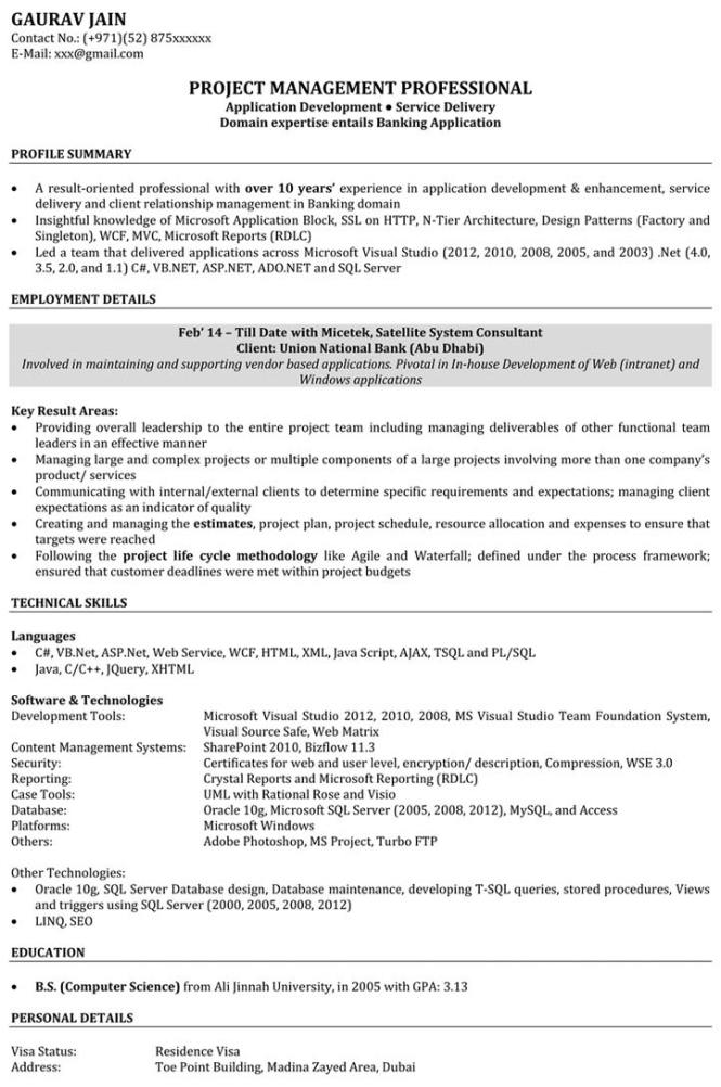 Sample Resume For Software Engineer Experienced - Resume Sample