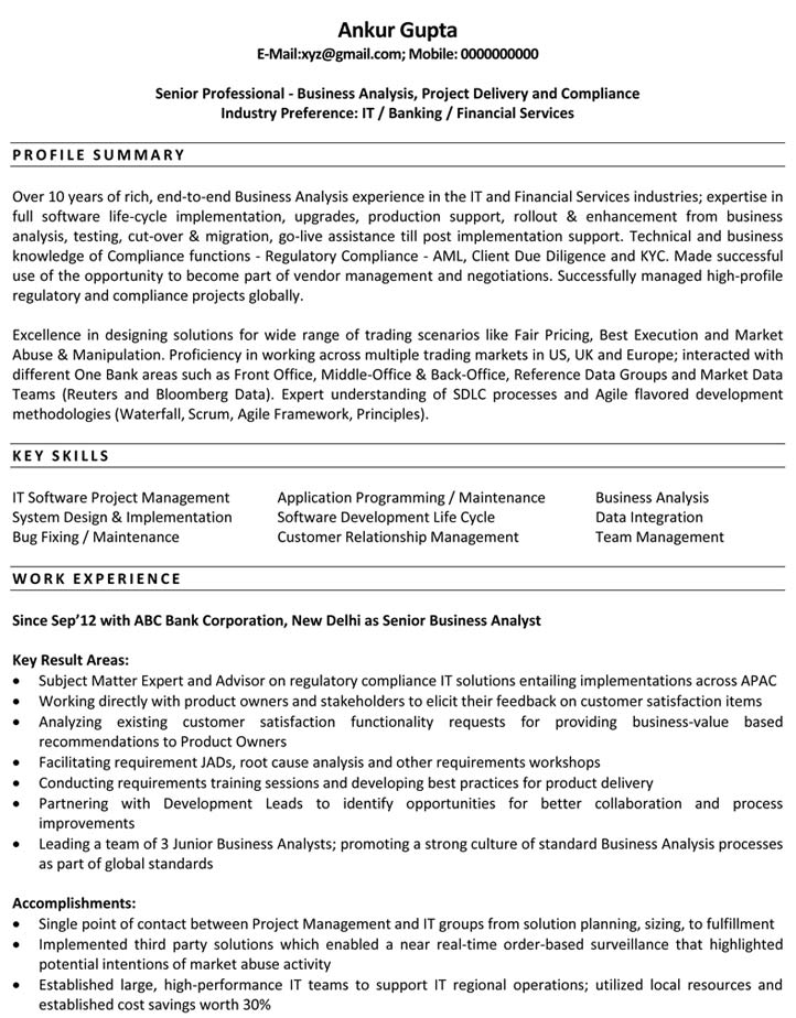 ba resume examples business analyst example inside business analyst