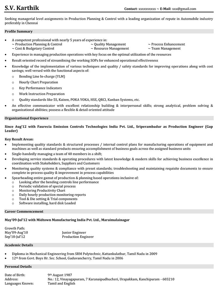 database production support resume