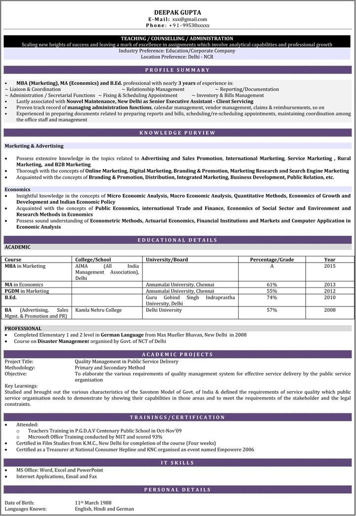 sample resume preparation