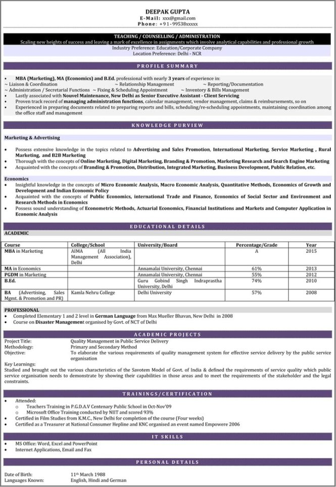 Fine Resume Format For Hindi Teacher Job In India Pictures Inspiration Example Resume Ideas Alingari Com