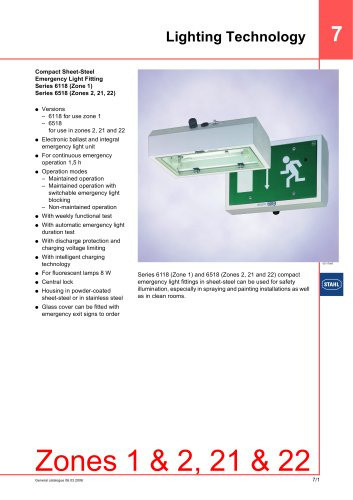 compact sheet steel emergency light