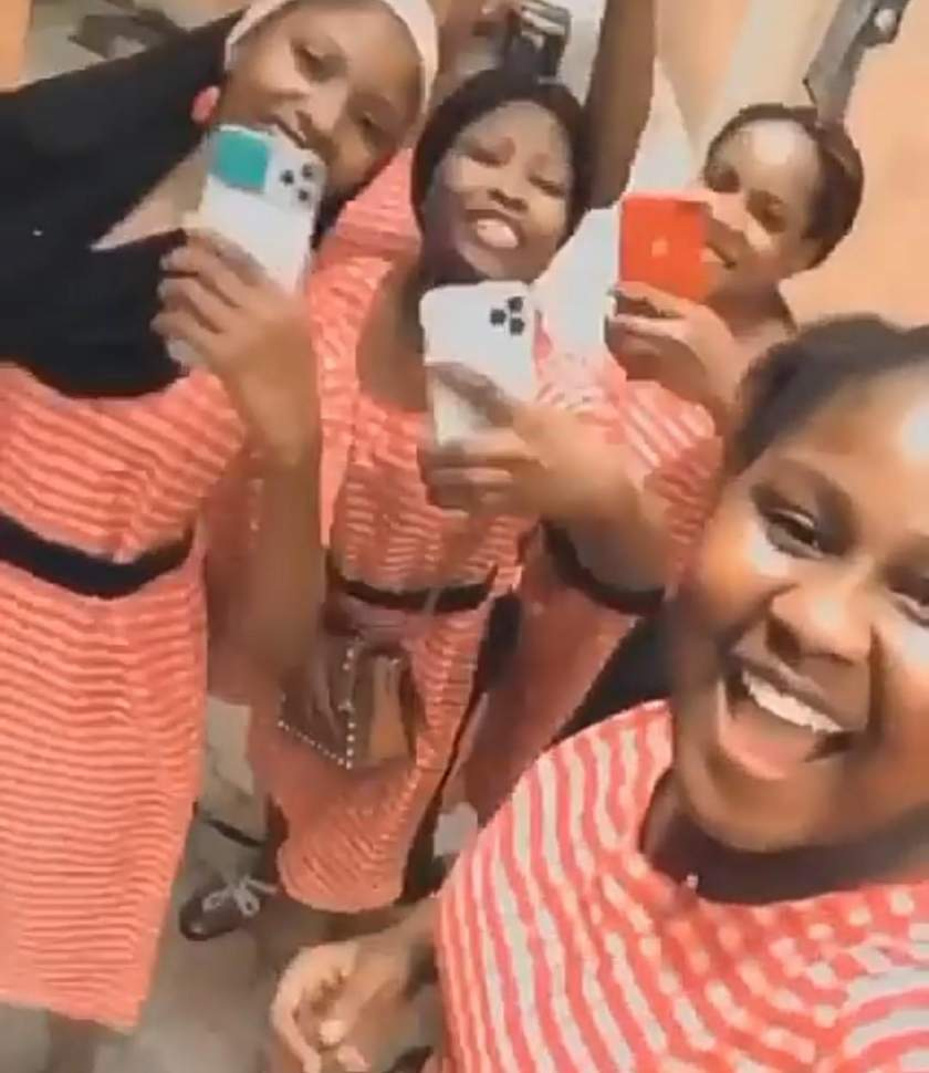 "Secondary school girls who call themselves ""Benefit Girls"" show off their new iPhones (Video)"