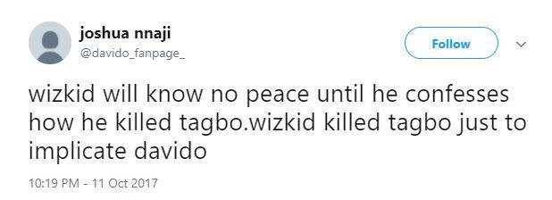 """Wizkid Davido 0 - """"Wizkid Will Know No Peace Until He Confesses How He Killed Tagbo"""" - Davido's Die Hard Fan Says On Twitter"""