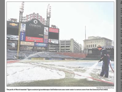 Getting ready for Opening Day in Detroit on March 31, 2003