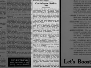 Confederate Soldier Dies