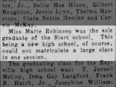Marie Robinson, the first graduate of Start School.