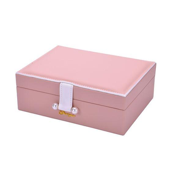 Mode Coreenne Princesse Boite De Rangement Boucles D Oreilles Boite Solide Couleur Double Couche Boite A