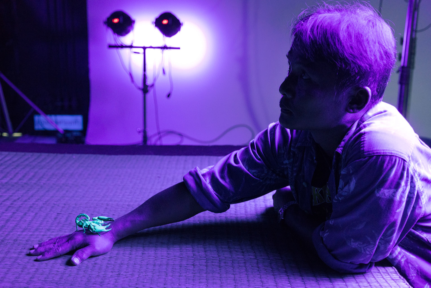 """""""ULTRAVIOLET"""" short film set photograph, featuring Bunthawee Siangwong (Scorpion Handler), courtesy of Marc Johnson, UMOON Production Thailand and Fulldawa Films, photo credit: Martin Reeves"""