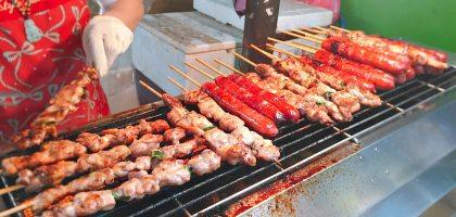 三重三和夜市|瑪拉桑原住民山豬肉香腸.山雞肉串