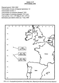 Positionen und Mengen des im Nordostatlantik versenkten Atomabfalls aus der Schweiz. (Quelle: IAEA-Bericht TECDOC-1105 «Inventory of radioactive waste disposals at sea», 1999)