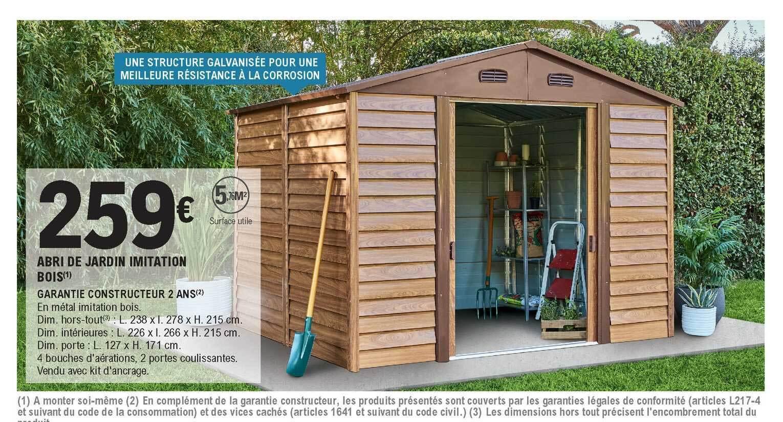 Promo Abri De Jardin Imitation Bois Chez E Leclerc Brico
