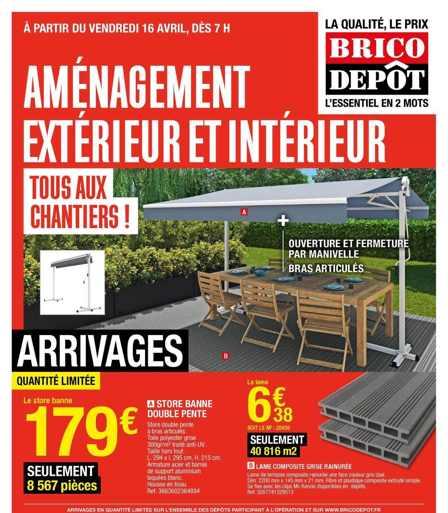 Promo Store Banne Double Pente Lame Composite Grise Rangee Chez Brico Depot