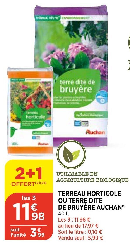 Promo Terreau Horticole Ou Terre Dite De Bruyere Auchan Chez Atac