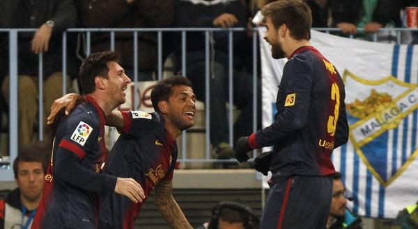 Selebrasi Lionel Messi usai membobol gawang Malaga (Foto: Reuters)
