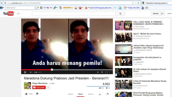 Maradona pun Dukung Prabowo