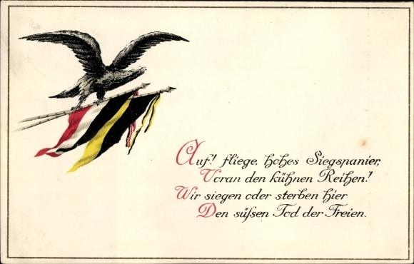 Präge Ak Auf Fliege Hohes Siegspanier Adler Schwarz Weiß Rote Fahne österreichische Fahnei Wk
