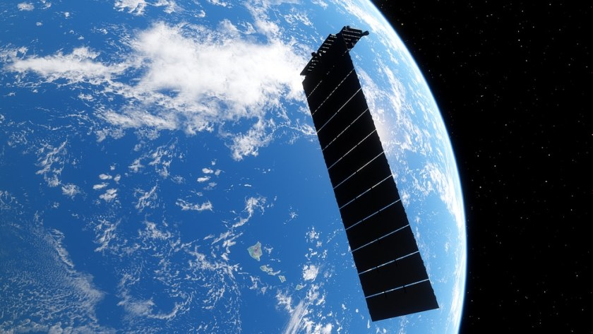 Image shows a SpaceX satellite that received laser terminals for Starlink
