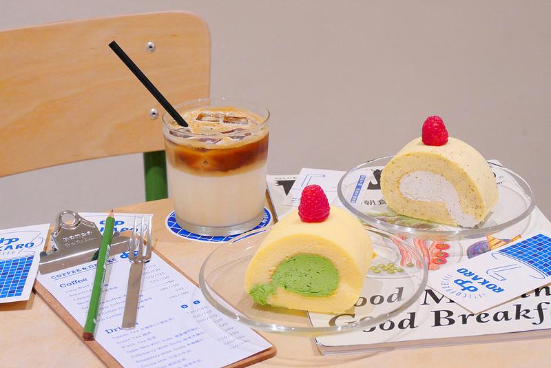 【台中咖啡】ROKARO COFFEE 美村路│西區:IG網美必拍人氣咖啡店 限量搶手抹茶蛋糕卷與紅茶蛋糕卷晚來就吃不到!拿鐵咖啡也推薦好喝! (週二店休 甜點每週品項不固定)