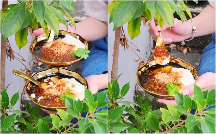 白水豆花_台中審計新村:來自宜蘭爆紅排隊鹽滷豆花/金邊瓷碗+麥芽花生糖碎+香菜粉圓精緻新食感