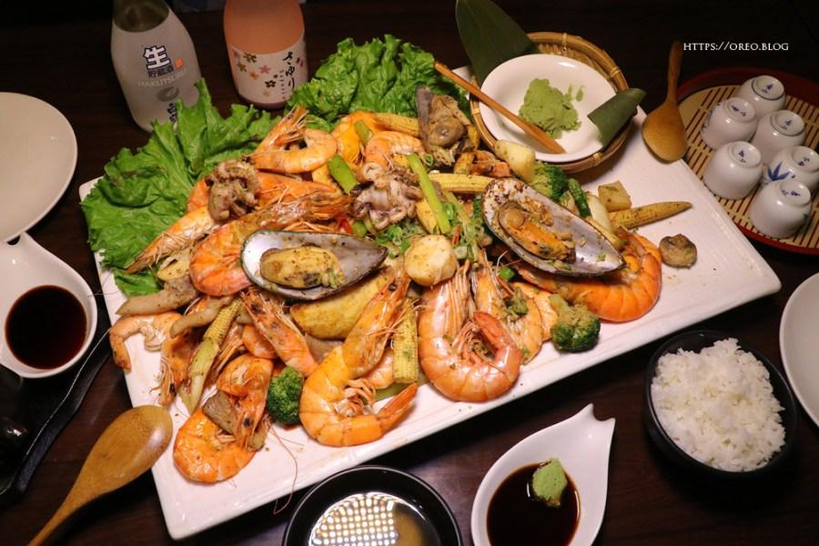 台北大安站│花漁新和風料理~適合蝦子控的大盤炒蝦~商業午餐/小酌/串燒/海鮮丼