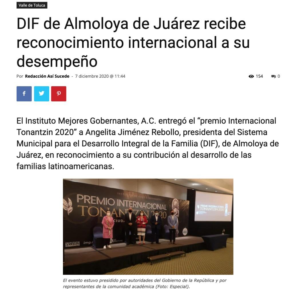 DIF de Almoloya de Juárez recibe reconocimiento internacional a su desempeño - Instituto Mejores Gobernantes