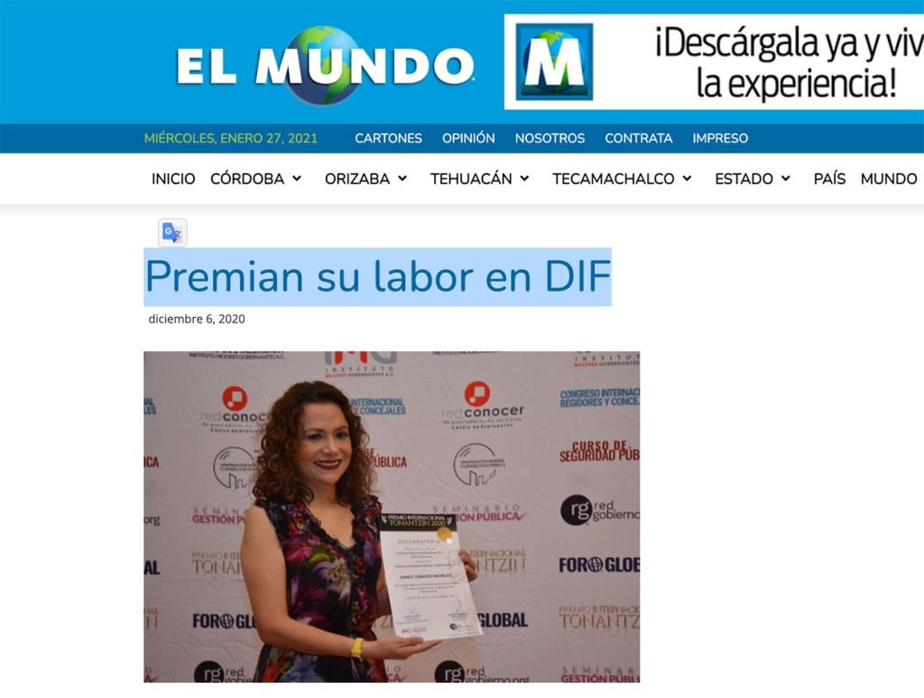 Premian su labor en DIF - Instituto Mejores Gobernantes