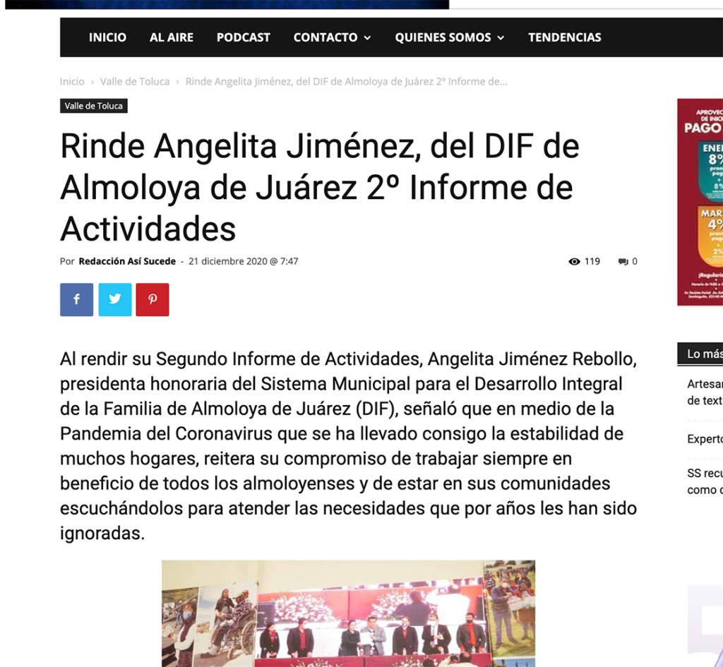 Rinde Angelita Jiménez, del DIF de Almoloya de Juárez 2º Informe de Actividades - Instituto Mejores Gobernantes