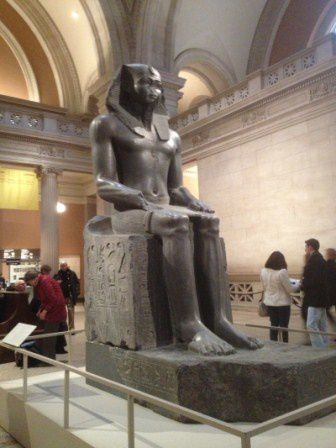 An African king (Pharaoh) , his face, body shape itself prove his African origin even if they mutilated his nose also