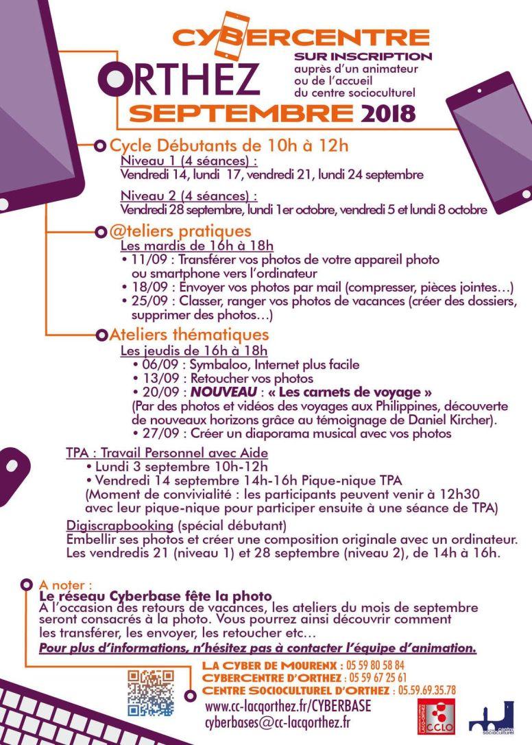 Programme septembre CyberCentre d'Orthez