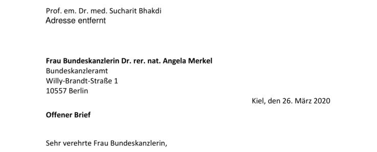 Covid-19. Lettre ouverte du Professeur Sucharit Bhakdi à la Chancelière allemande Dre. Angela Merkel