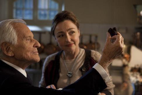 (photo du superbe film où Jean d'Ormesson jouait le rôle du président Mitterrand et Catherine Frot dans le rôle de la cuisinière !) 