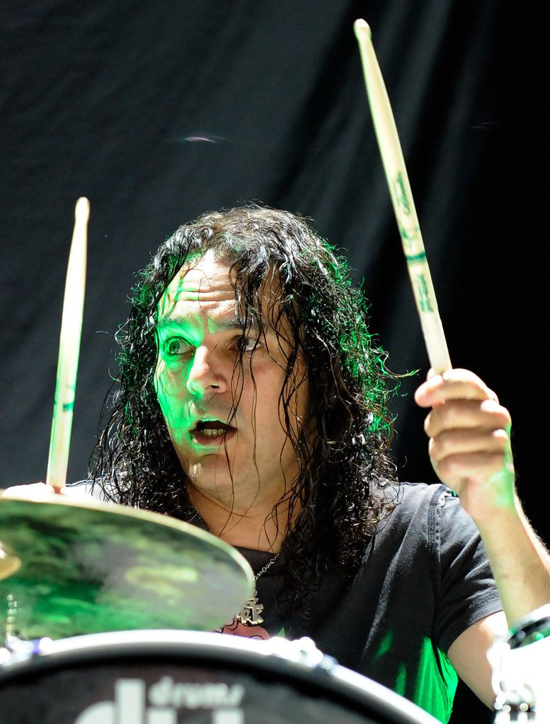 Fred Coury, Cinderella drummer performs as the band opens for the Scorpions at the Thomas & Mack Center August 3, 2010 in Las Vegas, Nevada